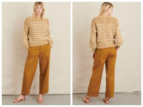 Alex Mill striped button back cotton sweater.