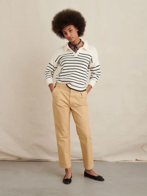 Alex Mill striped cotton pullover sweater.