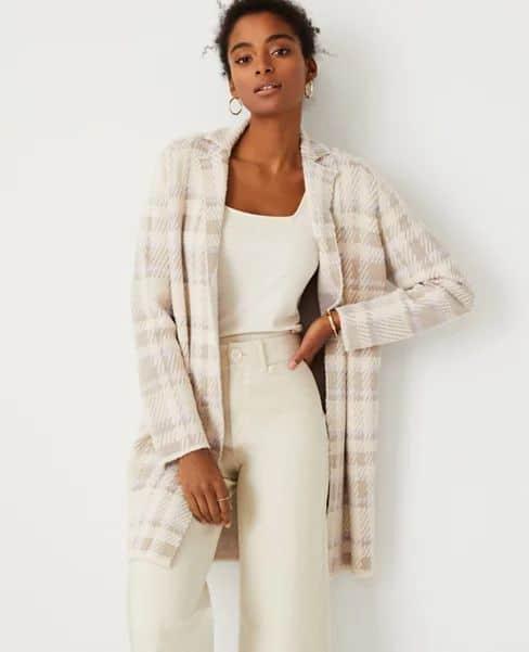 Ann Taylor plaid sweater coat. Details at une femme d'un certain age.