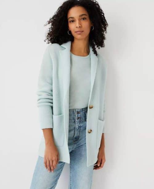 Ann Taylor sweater jacket cotton blend. Details at une femme d'un certain age.
