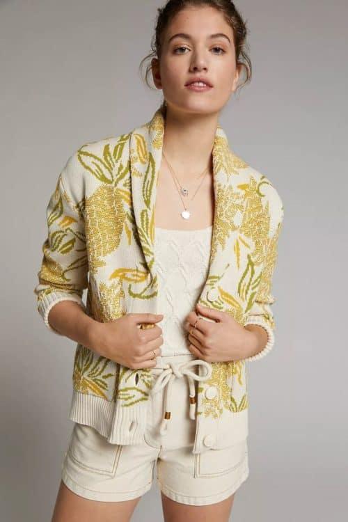 Anthropologie pineapple print cotton cardigan