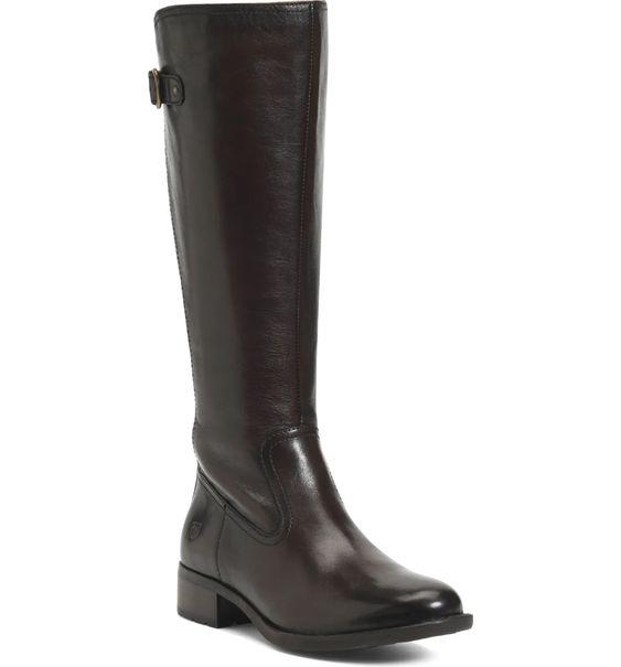 Born Carran knee boots in dark brown. Details at une femme d'un certain age.