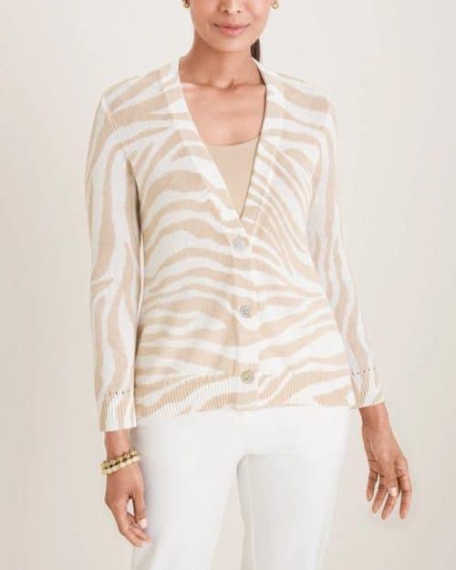 Chico's cotton-linen blend cardigan in white/tan tiger stripe.