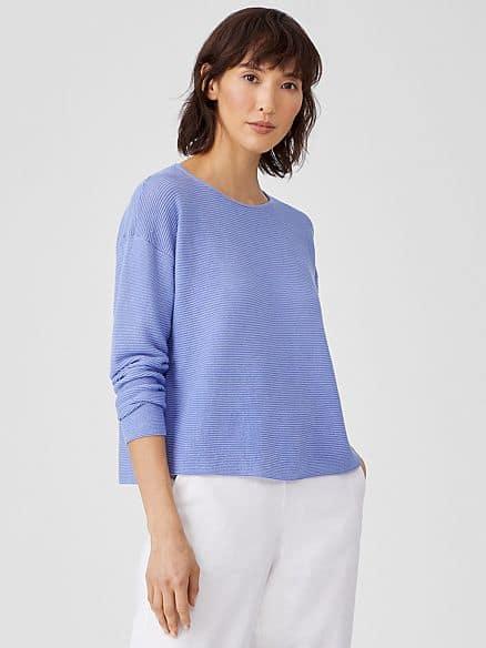 Eileen Fisher cotton-linen crewneck sweater in Hydrangea.