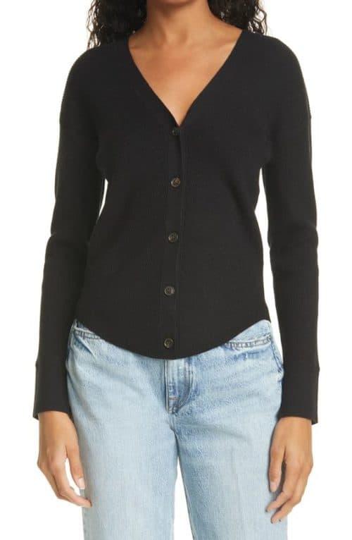 Frame black silk-cotton blend cardigan.