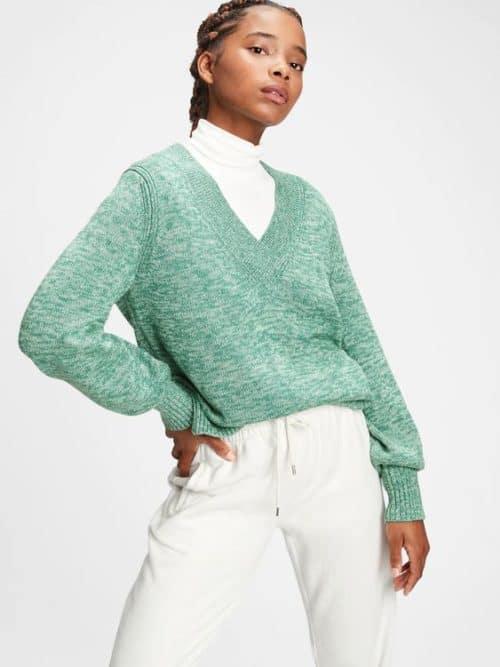 Gap v-neck cotton sweater marled green.