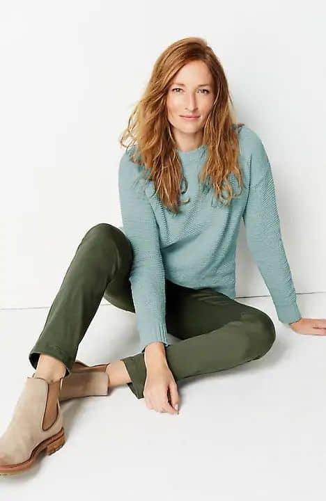 J.Jill cozy chenille sweater. Details at une femme d'un certain age.
