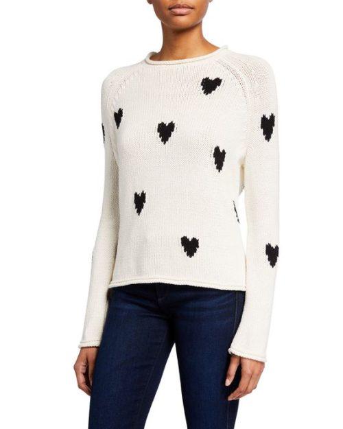 Lisa Todd cotton blend heart print sweater black & white.