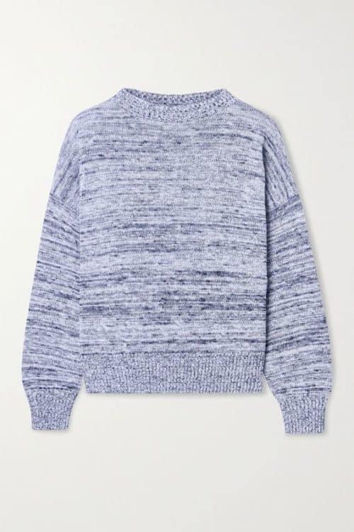 Max Mara marled blue cotton pullover sweater.