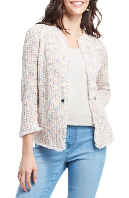 Nic + Zoe pastel boucle sweater jacket.
