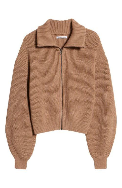 Reformation cotton zip cardigan.