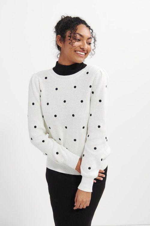 Amour Vert Olema organic cotton sweater in white/black polka dot.