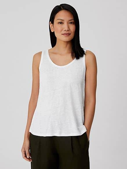 Eileen Fisher linen jersey tank white