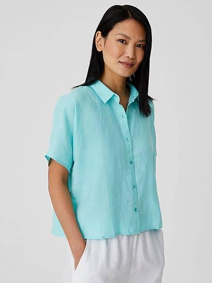 Eileen Fisher organic linen short-sleeve shirt.