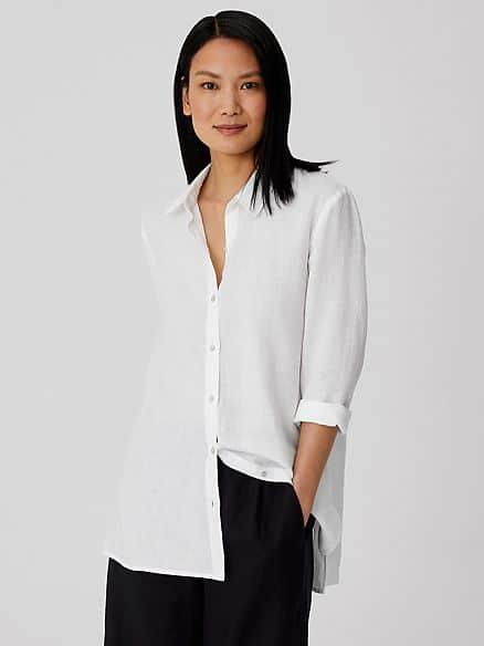 Eileen Fisher organic linen white shirt.