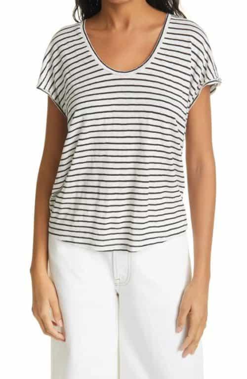 FRAME easy scoop neck linen tee in black/white stripes.