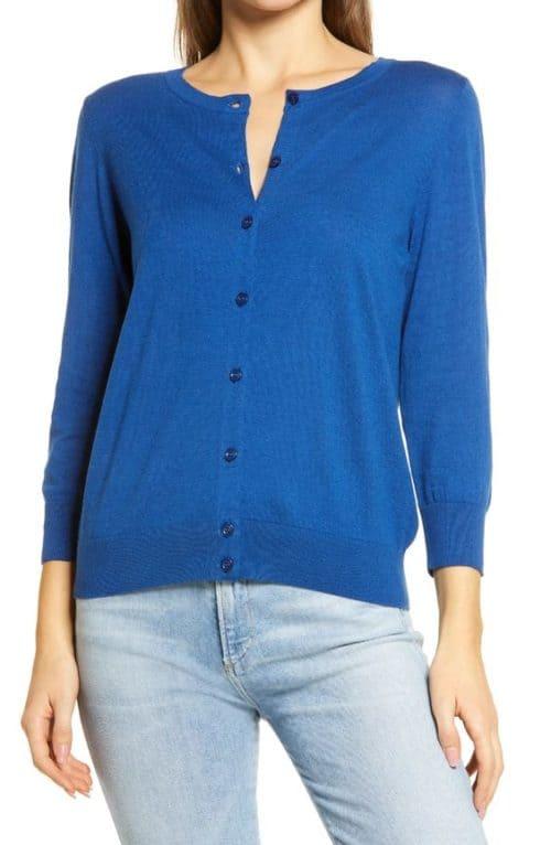 Halogen cotton blend cardigan cobalt blue.
