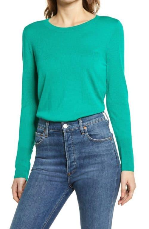 Halogen merino sweater in light emerald.