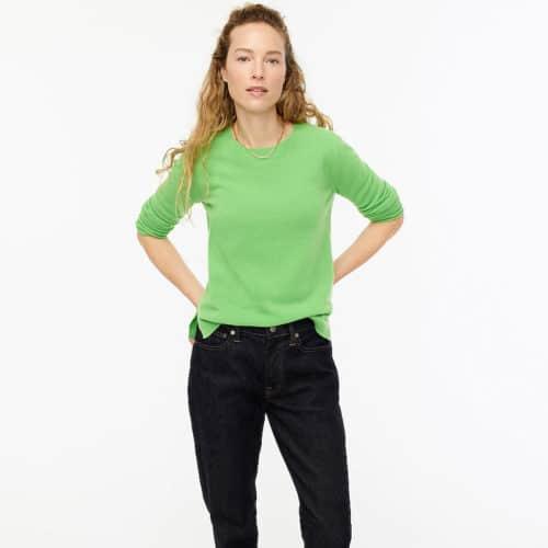 J.Crew cashmere crewneck sweater in warm, bright green.