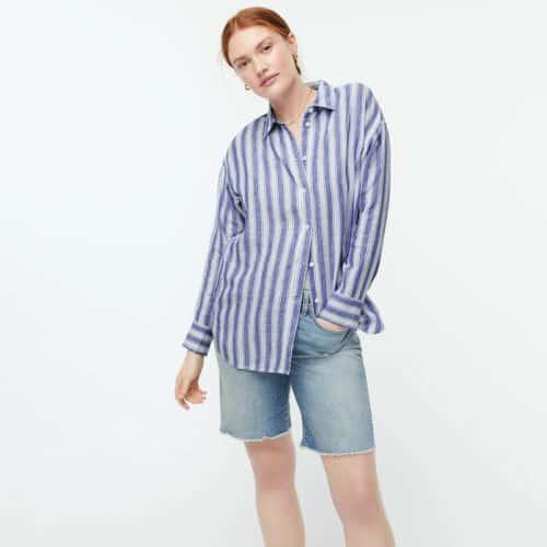 J.Crew linen shirt blue and white stripe.