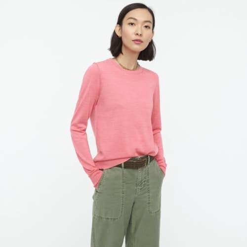 J.Crew Margot merino sweater in Guava.