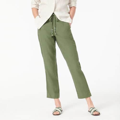 J.Crew linen tie waist pants olive