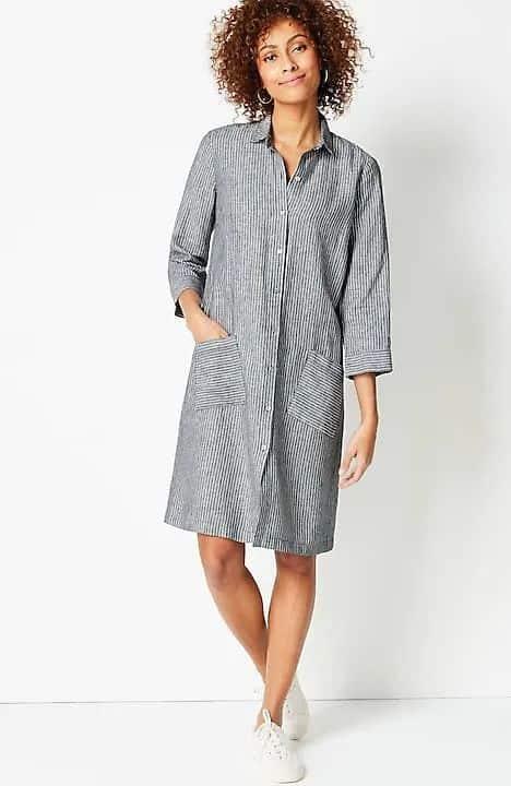 J.Jill linen shirtdress with pockets.