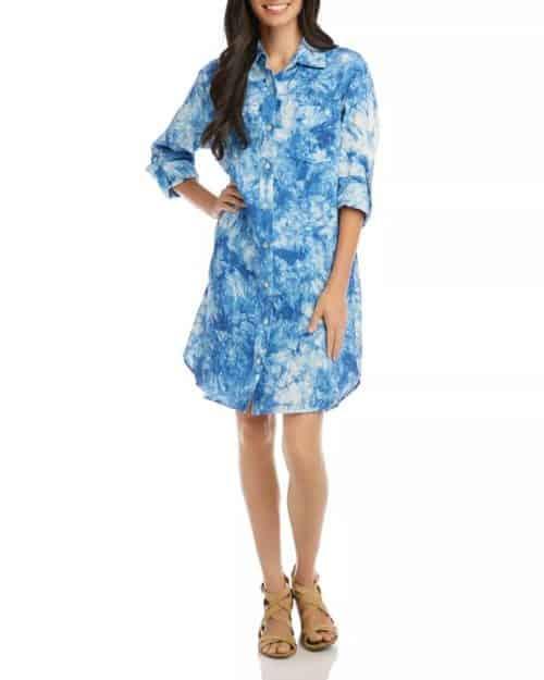 Karen Kane tie dye linen shirtdress blue.