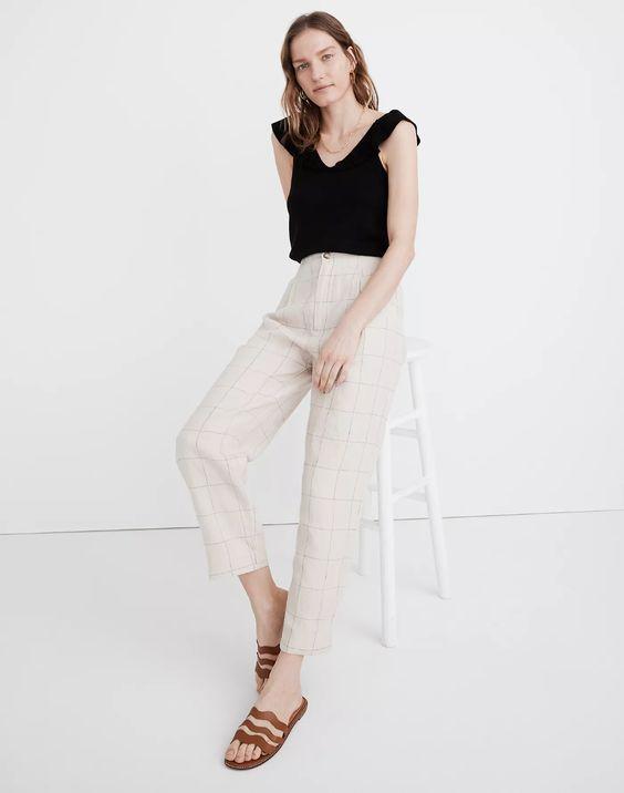 Madewell pleated linen trousers windowpane.