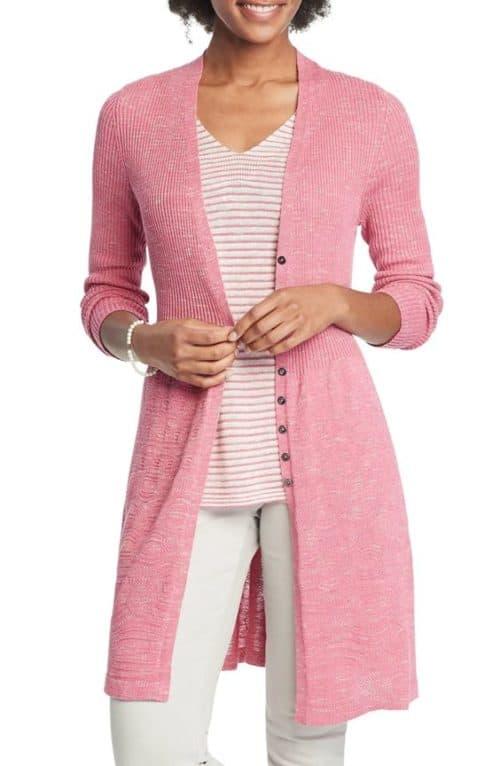 Nic + Zoe linen blend long cardigan in pink.