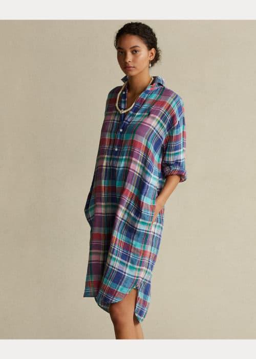 Ralph Lauren plaid linen shirtdress.