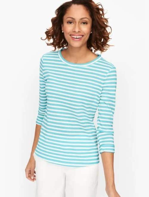 Talbot's aqua stripe top cotton blend