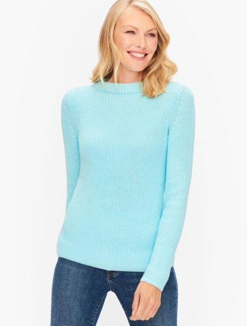 Talbots cotton shaker stitch sweater light aqua blue.