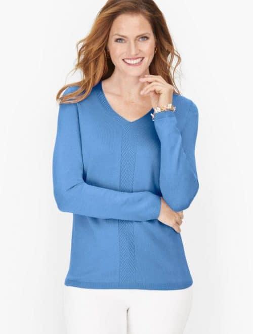 Talbot's shaker cotton blend sweater in larkspur blue.