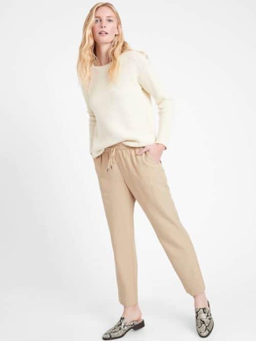 Banana Republic tencel-linen slim leg pants in khaki.