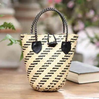 Batik lined woven rattan bag from Bali.