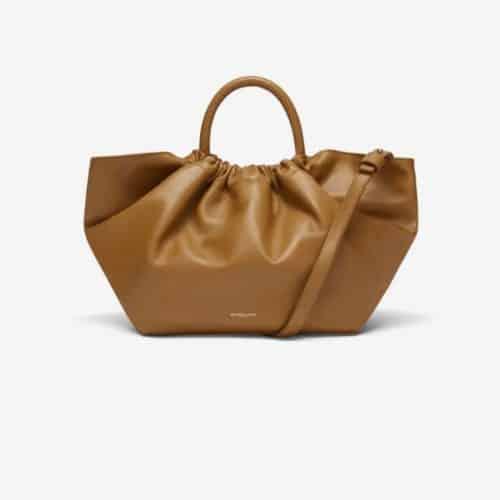 DeMellier London Midi Los Angeles bag in smooth ochre leather.