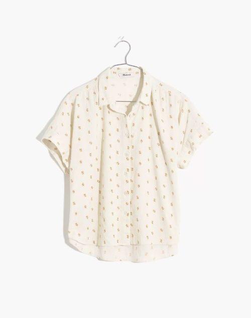 Madewell Hilltop shirt in mini orange print.