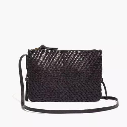 Madewell woven leather crossbody bag black.