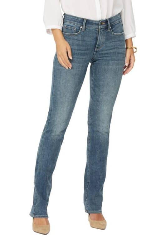 NYDJ Marilyn full-length straight-leg jeans.