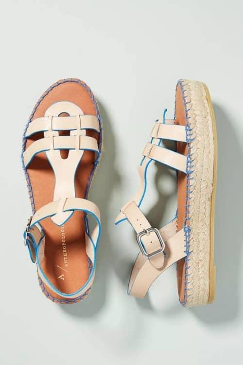 Anthropologie flatform fisherrman espadrille sandals. Love the blue stitching!