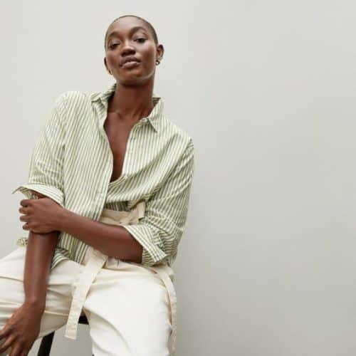 Everlane silky cotton shirt green stripe.