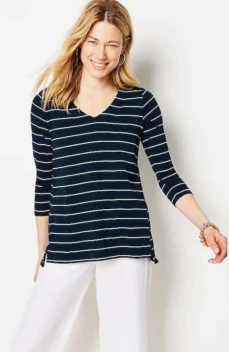 J.Jill pima cotton knit v-neck top in navy/white stripe.