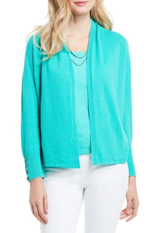 Nic + Zoe linen blend cardigan in Riviera blue.