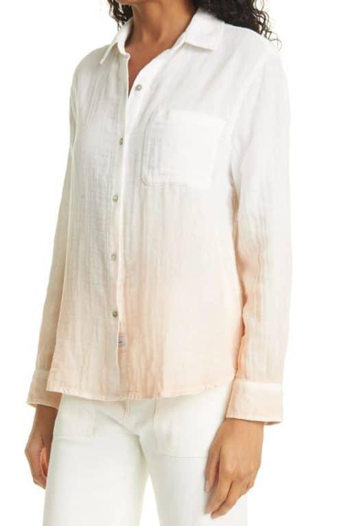 Rails dip-dye lightweight cotton shirt. More lightweight tops with sleeves at une femme d'un certain age.