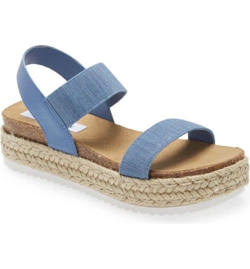 Steve Madden espadrille sandals in denim blue.