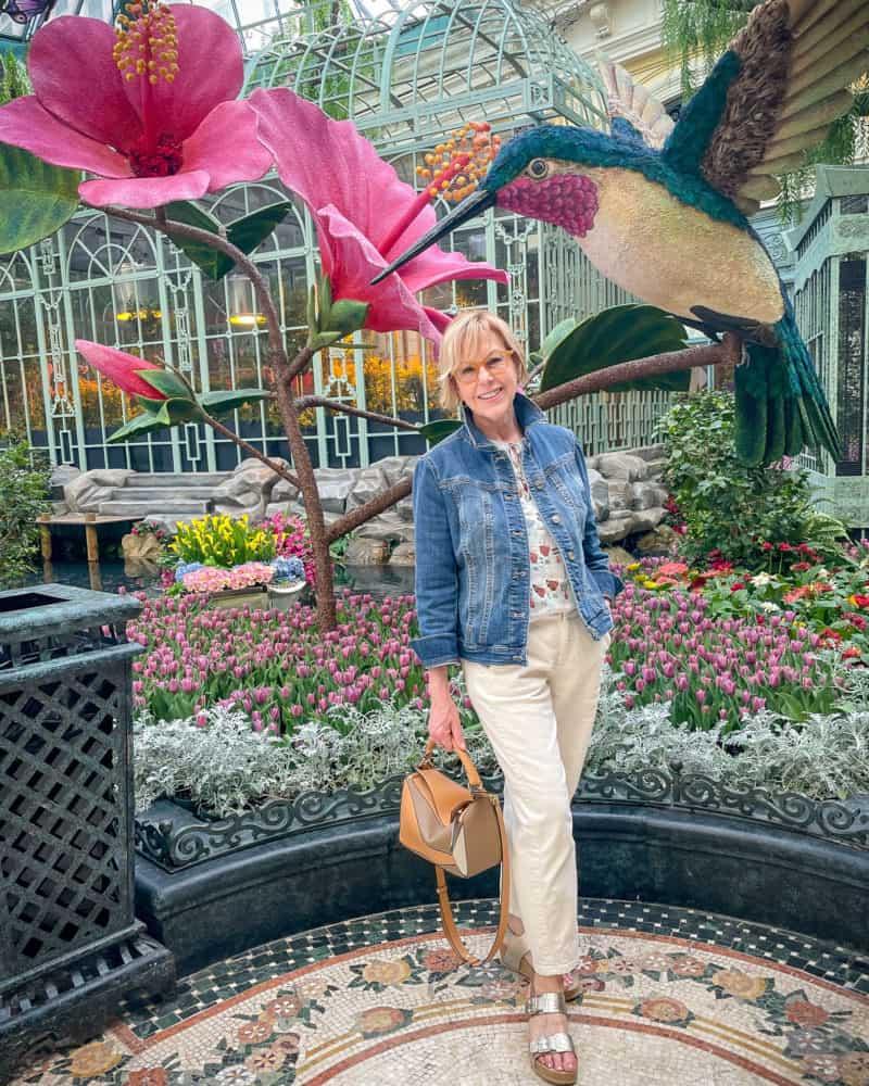 Susan B wears denim at the Conservatory at Bellagio, Las Vegas