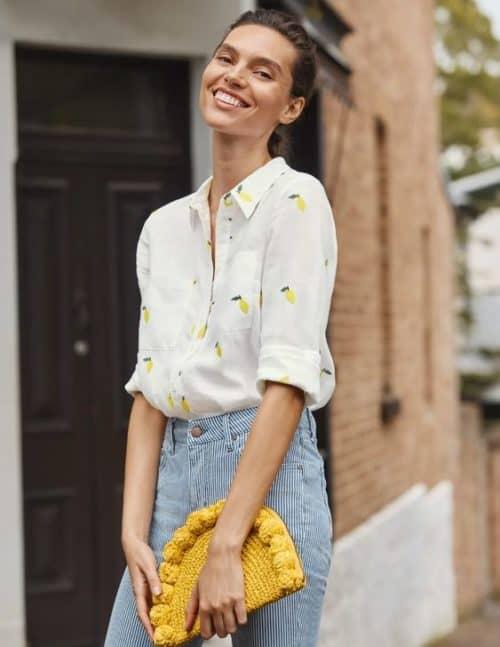 Boden lemon embroidered linen shirt.