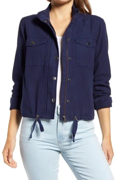 A summer weight jacket: Caslon lightweight utility jacket in bright navy.