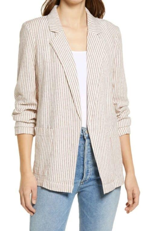 Caslon striped linen blazer.
